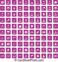 100 headhunter icons set grunge pink