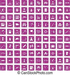 100 officer icons set grunge pink