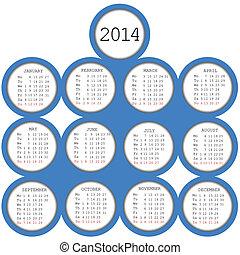 2014 calendar with blue circles