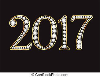 2017 in Diamond Jeweled Font