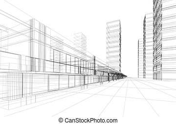 Abstract 3D construction of office building, white background. Concept - modern city, modern architecture and designing