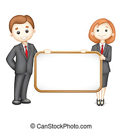 illustration of 3d business man and woman in vector with Blank Board