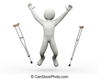 3d illustration of person joyful jump throwing crutches. 3d rendering of human people character