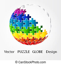 3D globe in puzzle piece style.