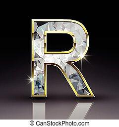 3d shiny diamond letter R