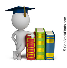 3d small person stands alongside a book in the header of the graduate. 3d image. Isolated white background.