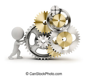 3d small person rotates the mechanism from gears. 3d image. Isolated white background.