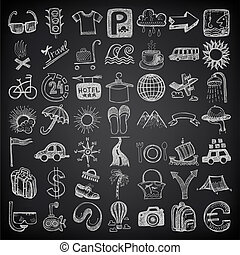49 hand drawing doodle icon set, travel theme on black backgraund