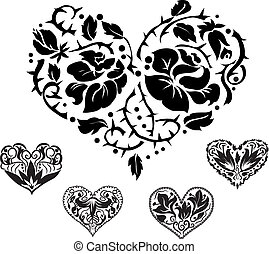 5 heart ornate silhouettes