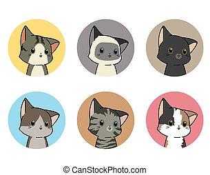6 kitty stickers in cartoon style