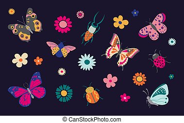 9 Butterflies and bugs. Spring and summer cartoon insects, colorful butterfly and ladybug with flowers. Vector isolated set