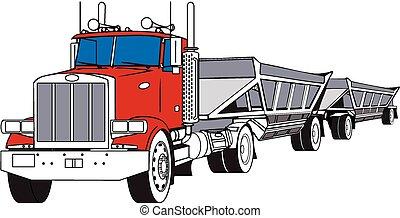 A big rig semi hauling a pair of bottom dump trailers.