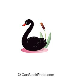 A cute black swan in the reeds. Raster illustration in the flat cartoon style