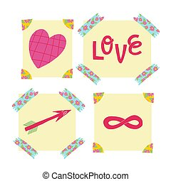 A cute sticky notes set with washi tape and photo corners. Valentine's day stickers. Heart,love, arrow and infinity sign