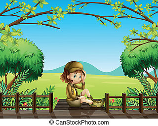 Illustration of a girl sitting at the wooden bridge