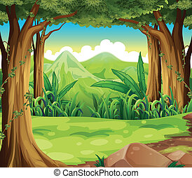 Illustration of a green forest across the high mountains