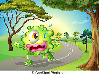 A monster jogging at the road