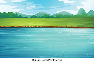 Illustration of a river and a beautiful landscape