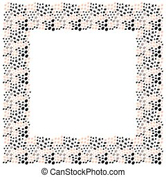 A square frame in the Scandinavian style of stars, cat's footprints, blots in floral forms in black and pink colors on a white background. Isolated template with place for text. Copy space. Vector