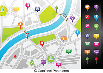 A vector illustration of a GPS street map with usable icons
