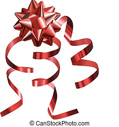 illustration of a pretty shiny red bow with ribbons