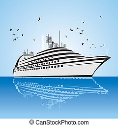 a very realistic view of Cruise Ship, similar to the Freedom of the Sea ship Sailing out at sea