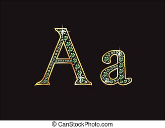 Aa in Emerald Jeweled Font