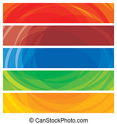 Abstract artistic colorful collection of banner templates- vector graphic. This illustration consists of stripes of colorful website and presentation headers