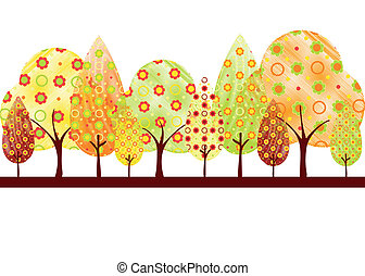 Abstract colorful autumn tree on white green background greeting card