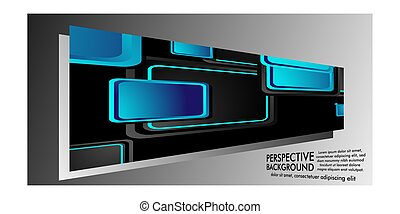 ABSTRACT BACKGROUND OF RECTANGLE PERSPECTIVE WITH BLUE COLOR