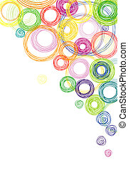 Vector abstract white background with multicolored rainbow circles