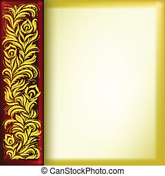 abstract background with golden floral ornament