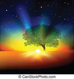 abstract background with tree sunrise and stars