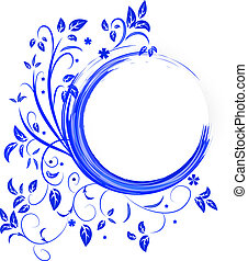 Abstract banner with curls of blue color