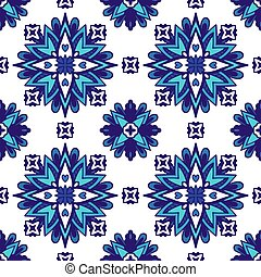 Abstract blue and white tile ethnic background seamless pattern