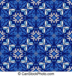Abstract blue classic damask background seamless pattern