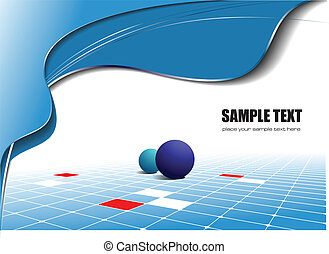Abstract blue wave background with dices image. Vector illustration