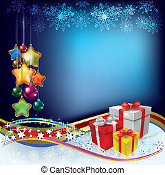 Abstract Christmas greeting with gifts