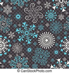 Christmas seamless pattern with white and blue snowflakes
