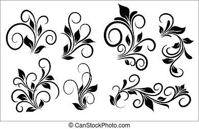 Abstract Conceptual Creative Decorative Design Art of Flourish Swirls Vector Elements