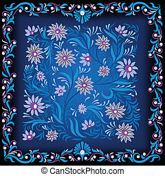 abstract dark background with blue floral ornament