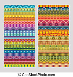 Abstract ethnic geometric vector strip patterns
