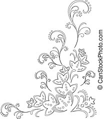 Abstract vector background with a symbolical flower pattern, monochrome graphic contours