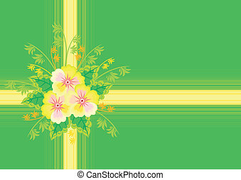 Abstract flowers with ribbon