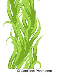 Abstract grass seamless pattern. Decorative swirly ornament with green waves