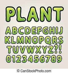 Abstract Green Nature Alphabet