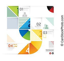 Abstract infographic Design Minimal circle shape style technology template / can be used for infographics / numbered banners / horizontal cutout lines / graphic or website layout vector