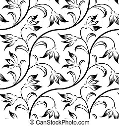 abstract lily, floral black isolated seamless