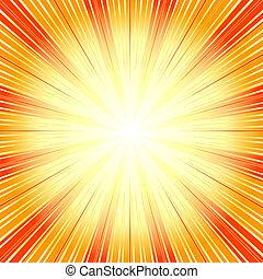 Abstract orange background with sunburst (vector)