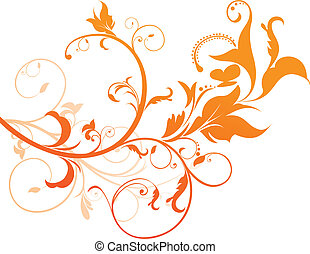 abstract orange floral vector illustration